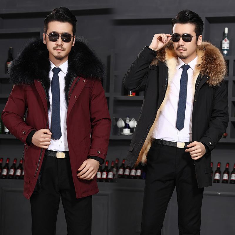 派克服男新款男士大衣皮草貉子毛獭兔毛内胆中长款外套尼克服