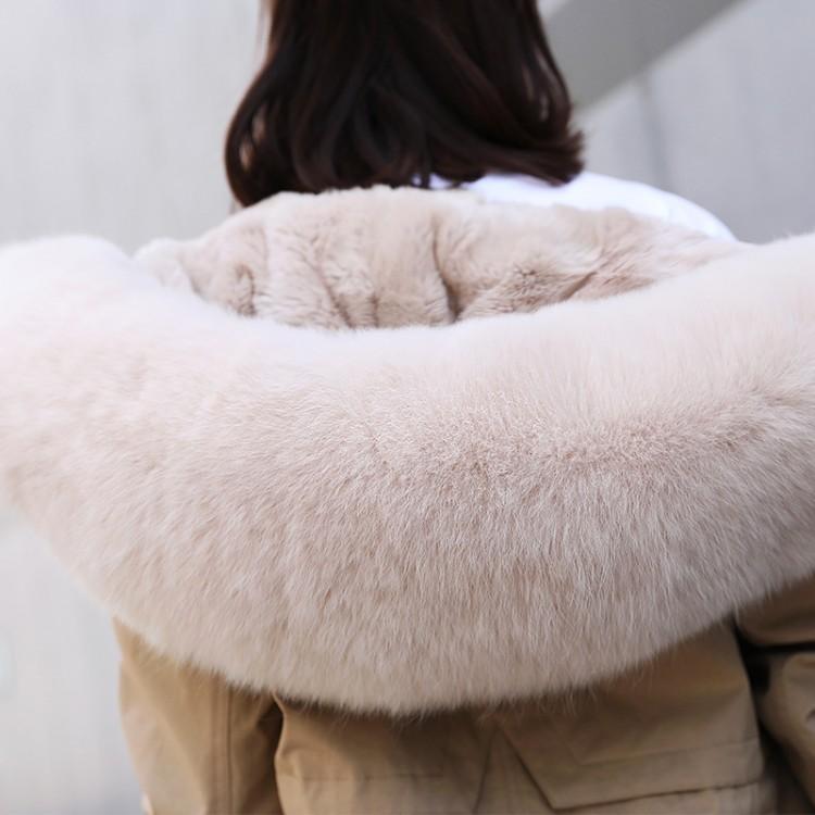 派克服女中长款獭兔毛内胆皮草外套大衣