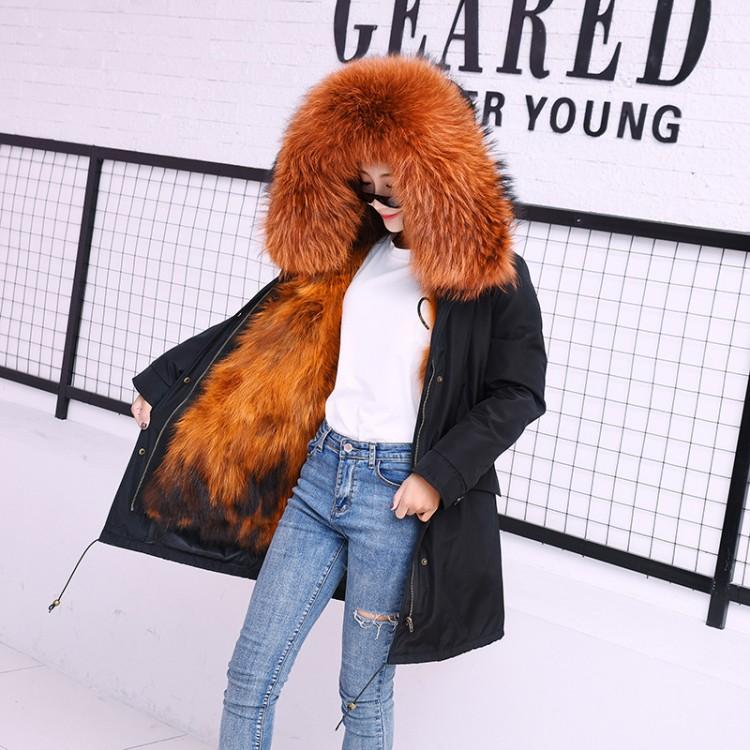 派克服女新款皮草貉子毛内胆外套大衣中长款连帽冬